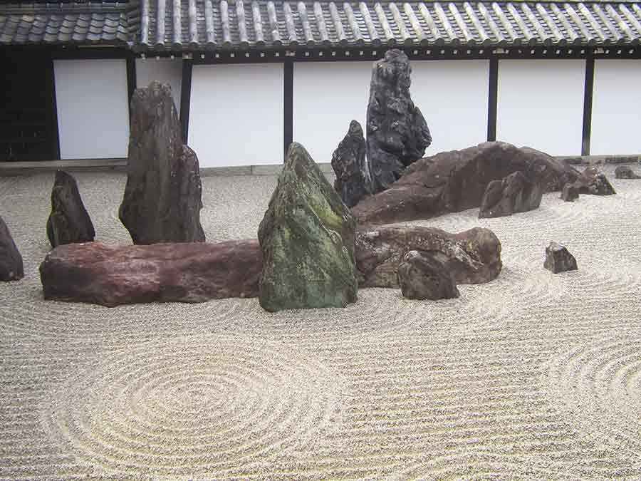 Rocks and gravel Tofukuji Southern Zen Garden, photo by Wieslaw Sadurski