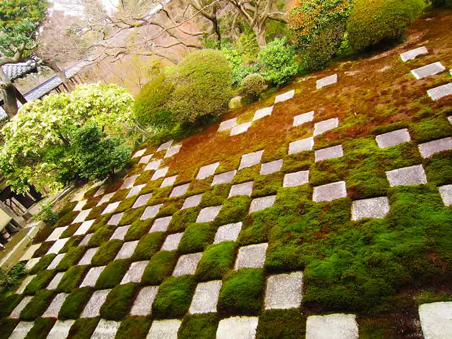 Stones in moss-embedded checkerboard pattern Northern Tofukuji Zen Garden, photo by Wieslaw Sadurski