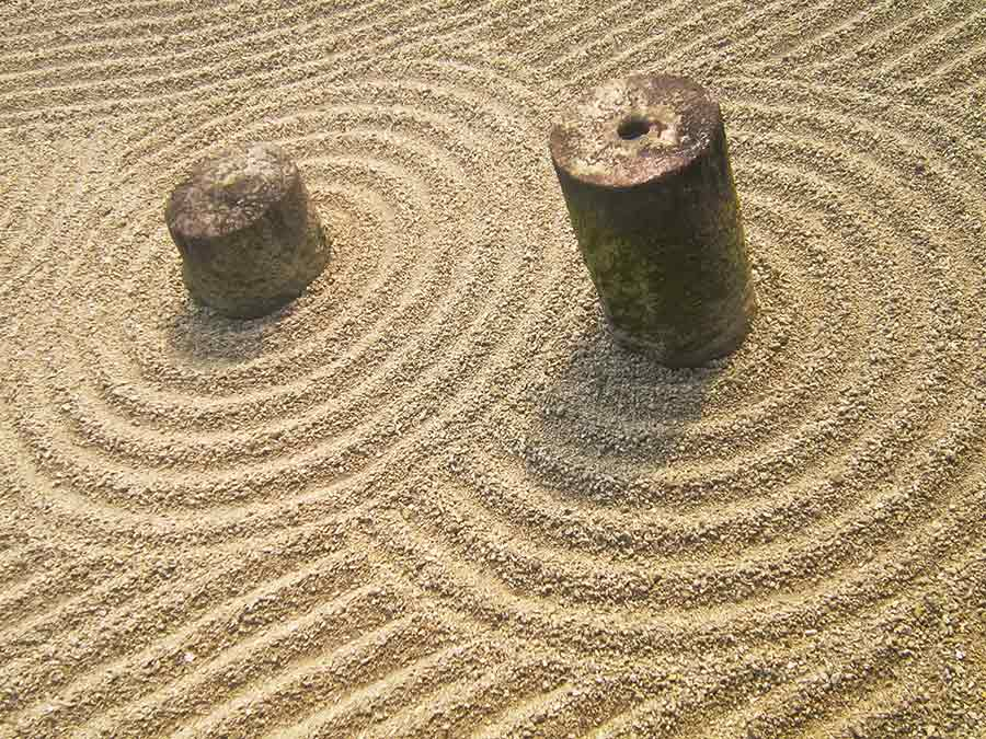 Tofukuji Zen Eastern Garden gravel and stones, photo by Wieslaw Sadurski